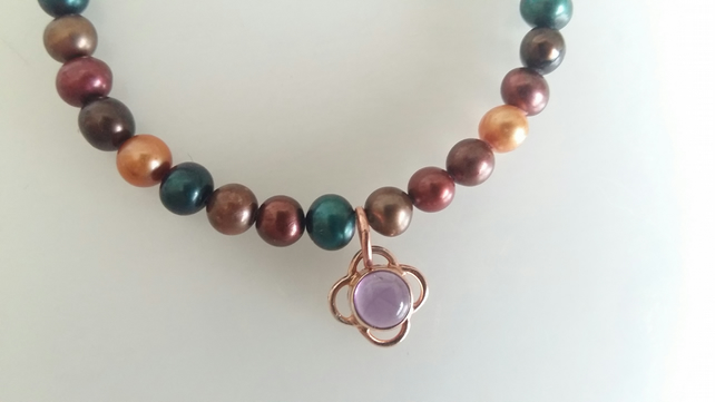 Multi Coloured Pearl Necklace with Charm