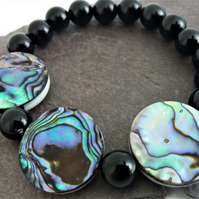 Abalone and Black Agate Bracelet