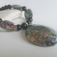 Black Agate and Abalone Necklace