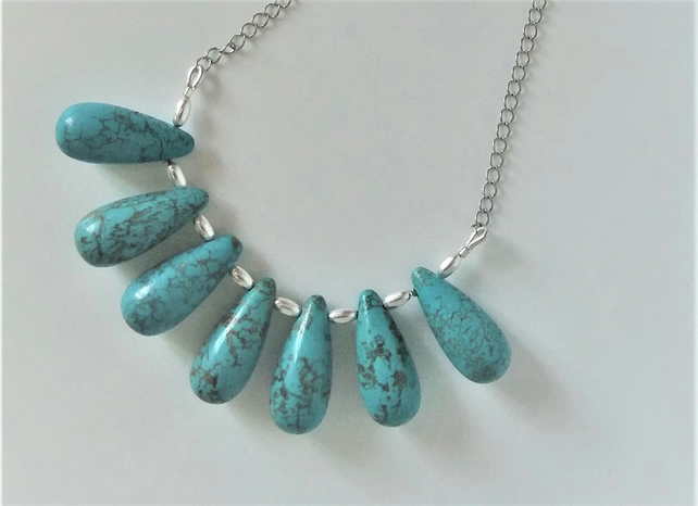 Turquoise colour necklace & earring set