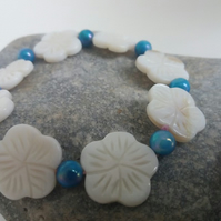 Carved Flower Shell Bracelet