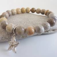 Starfish & Fossil Coral Stretchy Bracelet