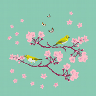 Cherry Blossom Greetings Card