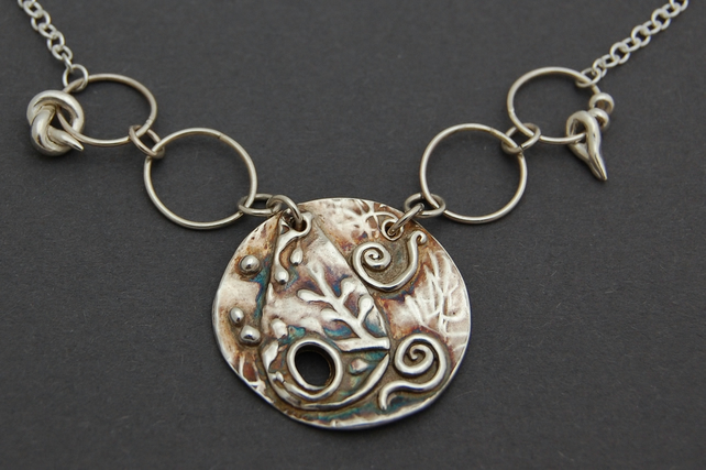 Fine Silver Disc pendant with Sterling silver embellishments