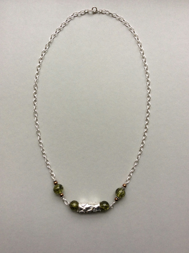 Silver Tube pendant with beads