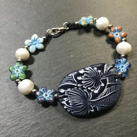 Artisan polymer clay, Czech glass and freshwater pearl bracelet