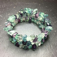 Multicolour Fluorite Gemstone Memory Wire Wrap Bracelet (Made To Order)