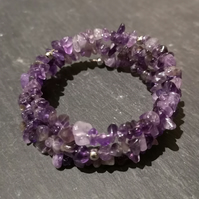 Amethyst Gemstone Memory Wire Wrap Bracelet (Made To Order)