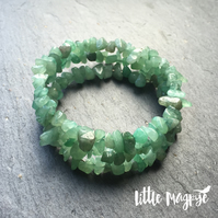 Green Aventurine Gemstone Memory Wire Wrap Bracelet (Made To Order)