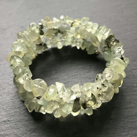 Prehnite Gemstone Memory Wire Wrap Bracelet (Made To Order)