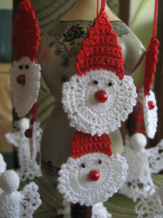 handmade set of 10 crochet santa stars christ folksy