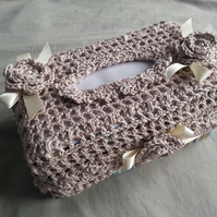 Handmade crochet tissue box cover, square box, toilet roll cosy, roll cover.