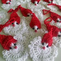 Handmade set of 10 crochet Santa, stars, Christmas Tree Ornaments