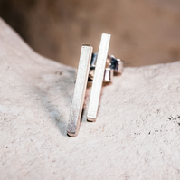 Eco silver matt bar stud earrings