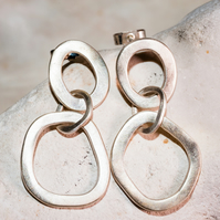 handmade eco silver earrings hoops