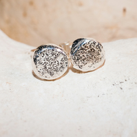 ecosilver solid 'pebble' stud button earrings