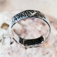Ecosilver wide reticulated 'rippling' ring