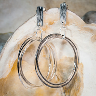 Handmade ecosilver three large hoops super dangly earrings