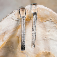 rippled ecosilver dangly bar earrings