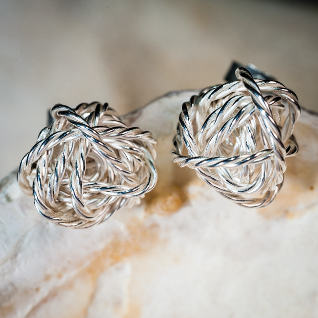 ecosilver hand made wire twist 3D organic sphere earrings