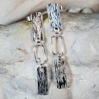 Handmade eco silver long dangly statement earrings