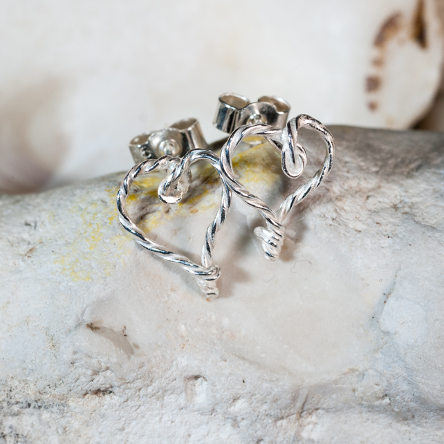 Ecosilver love hearts handmade by forming & twisting silver