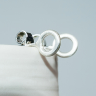 Tiny sculptural 3D handmade hoops of eco silver