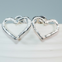 handmade ecosilver textured love hearts