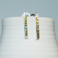 Ecosilver bar earrings with 23.5c gold highlights