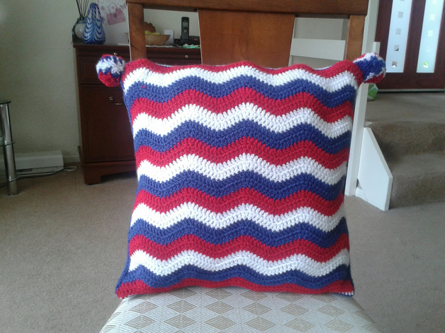 Crochet Patriotic Ripple 16 inch cushion cover