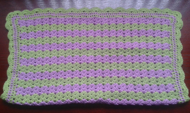 Hand crocheted pram or car seat blanket