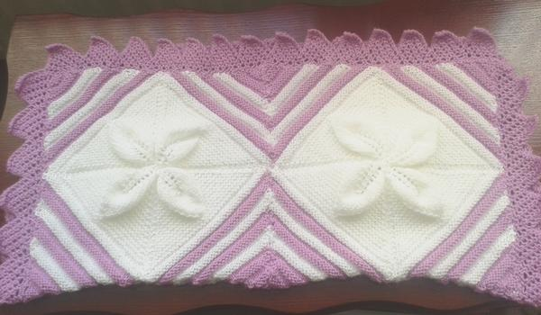 Hand Knitted leaves & diamonds baby blanket