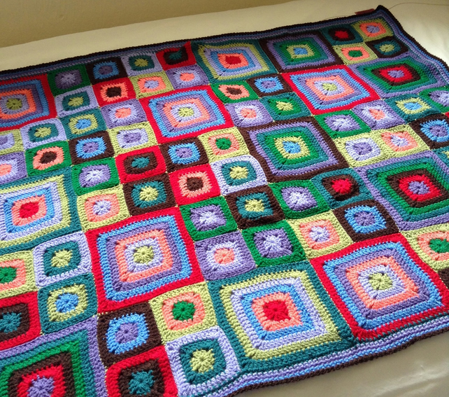 Hand crocheted bright square blanket, lapghan