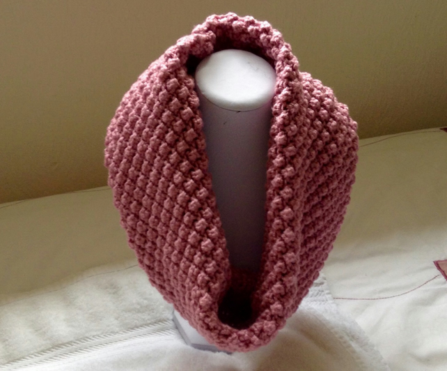 Hand knitted chunky bobble cowl