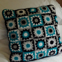 Hand crocheted 16 inch flower cushion cover