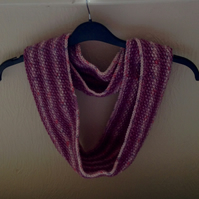 Hand knitted Infinity scarf cowl lilac mix