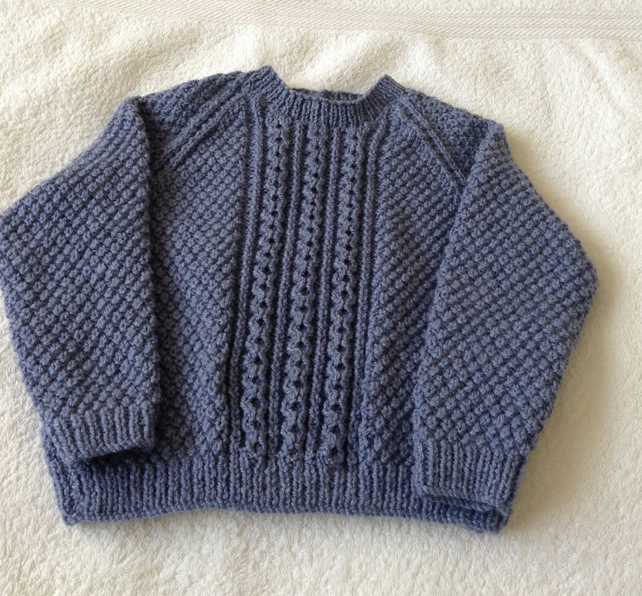 Hand knitted Cable jumper - 12-18 months