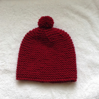 Hand knitted ladies bobble hat - free p & p