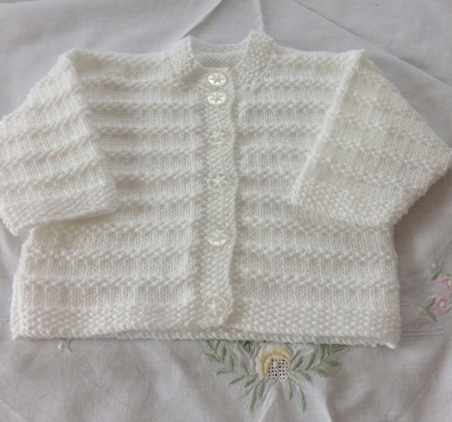 Hand knitted white cardigan - age 0-3 months
