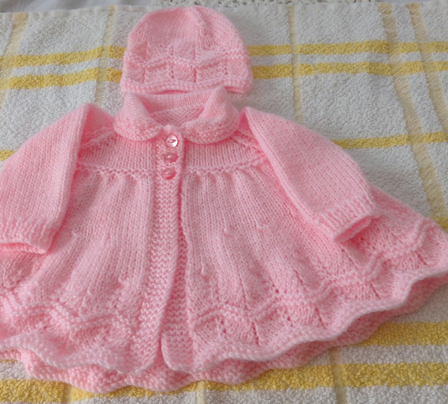 Hand knitted baby coat and hat - newborn size
