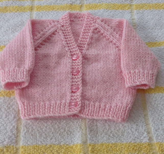 Hand knitted baby v neck cardigan - newborn size