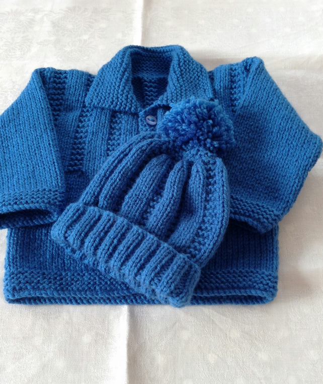 Hand knitted baby jacket and bobble hat - 0-3 months