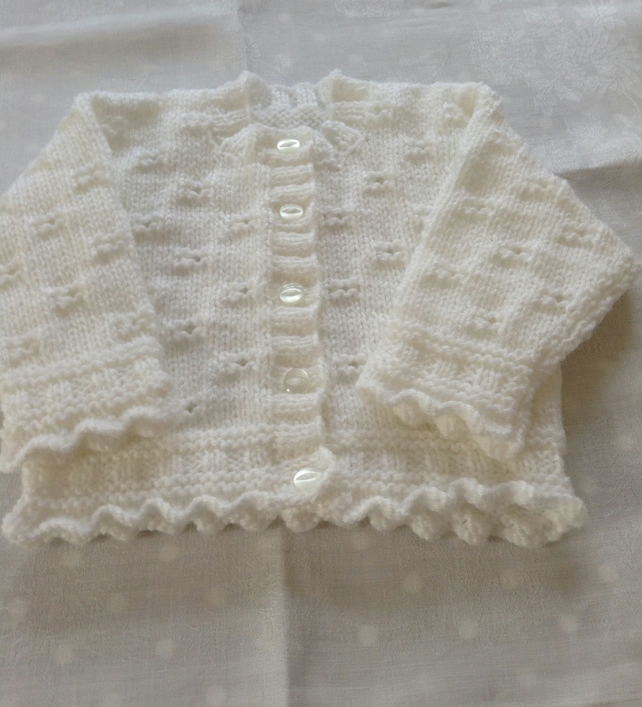 Hand knitted frilly edge cardigan - 0-3 months