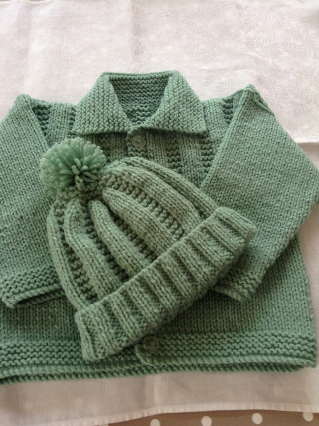 Hand knitted jacket and bobble hat - 3-6 months