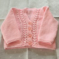 Hand knitted v neck cardigan - 0-3 mnths