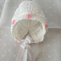 Hand knitted traditional baby bonnet newborn new baby