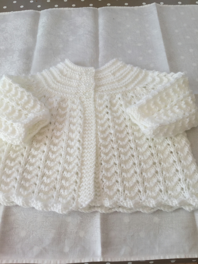 Hand knitted lacy matinee jacket - 0-3 months