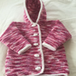 Hand knitted hoody cardigan jacket - 0-3 months