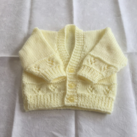 Hand knitted v neck lace panel cardigan - new baby newborn size