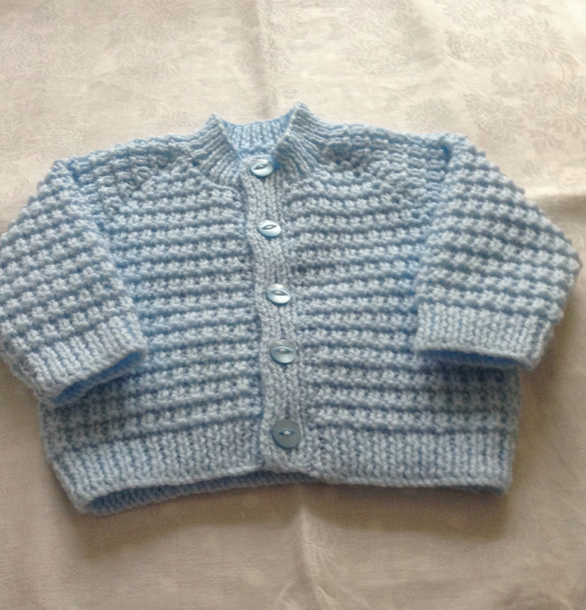 Hand knitted baby cardigan - age 0-3 months
